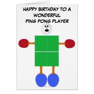 Anniversaire de ping-pong carte de vœux