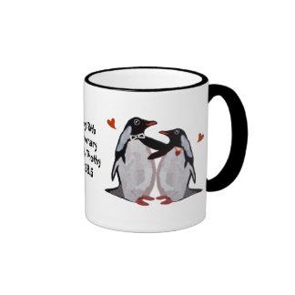 Anniversaire de pingouin cinquantième mug ringer