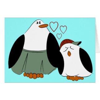 Anniversaire de pingouins de fils de mère carte de vœux