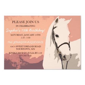 Anniversaire de poney de motif blanc de cheval carton d'invitation 8,89 cm x 12,70 cm