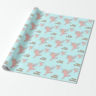 Anniversaire de porc de vol joyeux papier cadeau