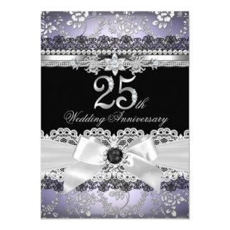 Anniversaire de pourpre d'argent d'arc de dentelle carton d'invitation  12,7 cm x 17,78 cm