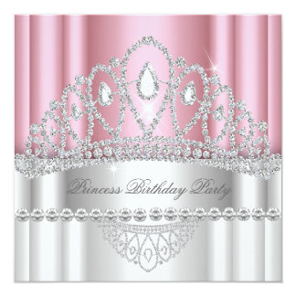 Anniversaire de princesse Light-pink White Diamond Carton D'invitation 13,33 Cm