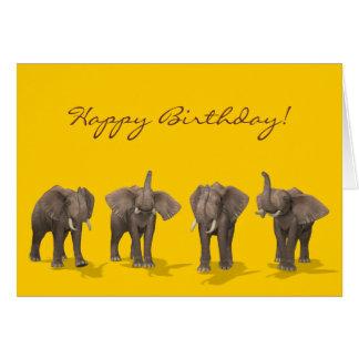 Anniversaire de quartet d'éléphants joyeux carte de vœux