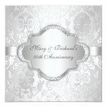 Anniversaire de Silve de remous floral élégant de Carton D'invitation 13,33 Cm