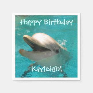 Anniversaire de sourire personnalisable de dauphin serviette jetable