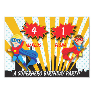 Anniversaire de super héros de garçon et de fille carton d'invitation  12,7 cm x 17,78 cm