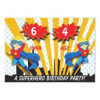 Anniversaire de super héros de garçons carton d'invitation  12,7 cm x 17,78 cm