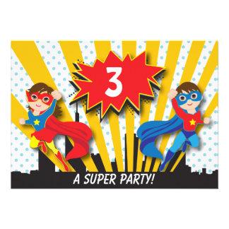 Anniversaire de super héros de jumeaux invitation personnalisable