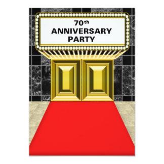 Anniversaire de tapis rouge soixante-dixième de carton d'invitation  12,7 cm x 17,78 cm
