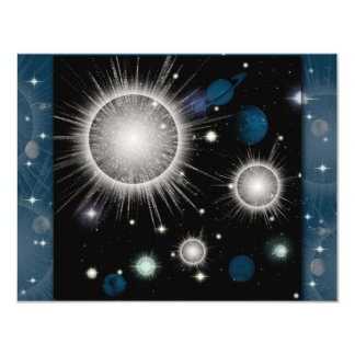 Anniversaire de thème de l'espace carton d'invitation 10,79 cm x 13,97 cm