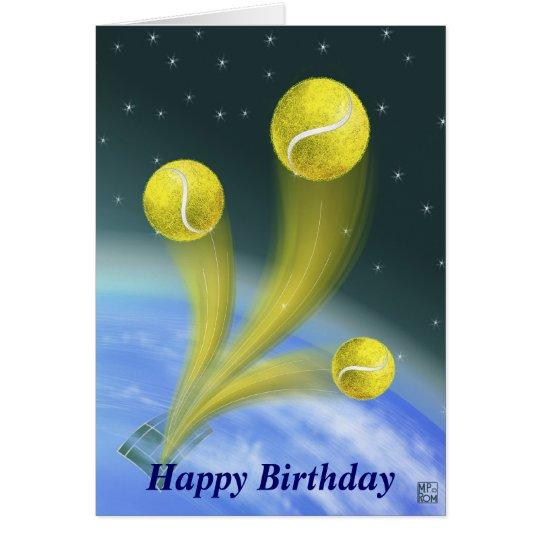 Anniversaire de victoire de tennis joyeux carte de vœux ...