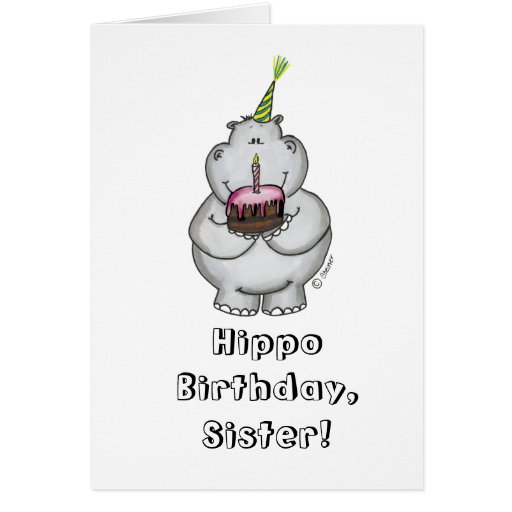Anniversaire d'hippopotame - joyeux anniversaire carte de vœux