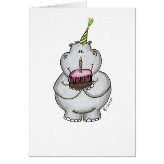 Anniversaire d'hippopotame - joyeux anniversaire cartes de vœux