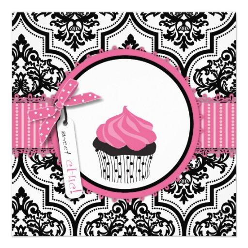 Anniversaire d'impression de petit gâteau et de da faire-parts