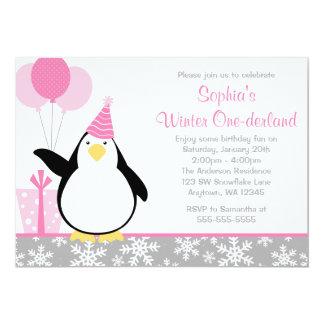 Anniversaire d'Onederland d'hiver de flocons de Carton D'invitation 12,7 Cm X 17,78 Cm