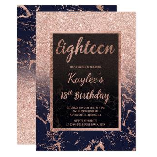 Anniversaire d'or de Faux 18ème de scintillement Carton D'invitation 12,7 Cm X 17,78 Cm