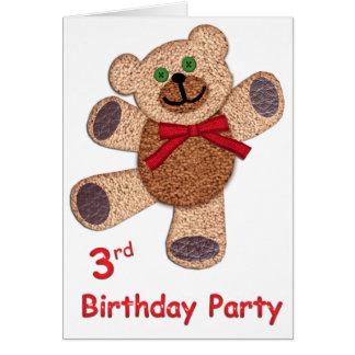 Anniversaire d'ours de nounours 3ème carte de vœux