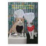 Anniversaire drôle de chats de chef carte de vœux