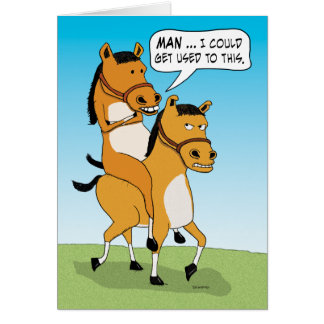 Anniversaire drôle de cheval d'équitation cartes