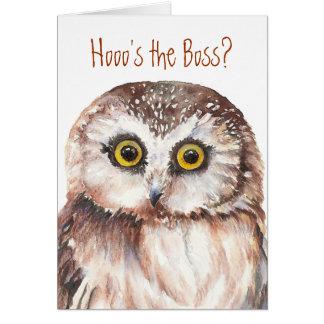Anniversaire drôle de patron, humour sage de hibou cartes