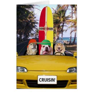 Anniversaire drôle de surfer de Cruisin de chiens Carte De Vœux