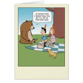 Anniversaire drôle : L'ours veut le gâteau Carte De Vœux