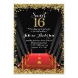 Anniversaire du bonbon 16 à scintillement de carton d'invitation  12,7 cm x 17,78 cm