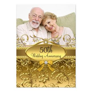 Anniversaire élégant de photo cinquantième de carton d'invitation  12,7 cm x 17,78 cm