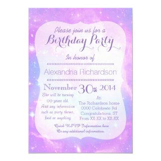 Anniversaire en pastel de l'espace de galaxie carton d'invitation  12,7 cm x 17,78 cm