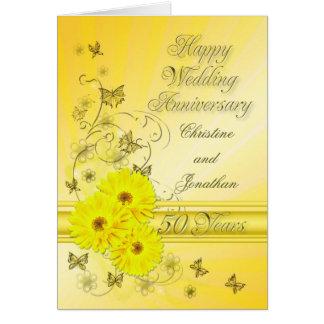 Anniversaire fabuleux de fleurs cinquantième pour carte de vœux