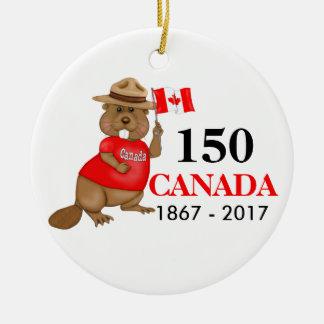 Anniversaire fièrement canadien du castor 150 ornement rond en céramique