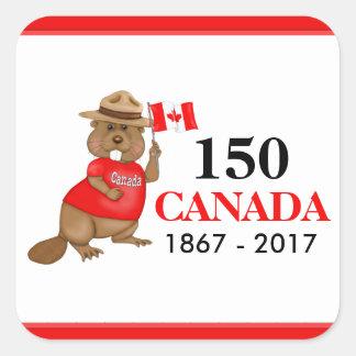 Anniversaire fièrement canadien du castor 150 sticker carré