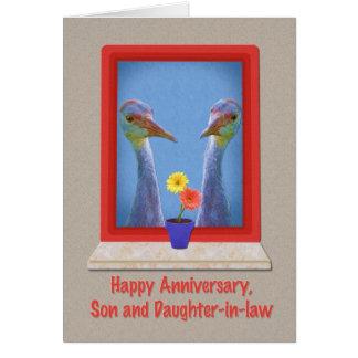 Anniversaire, fils et belle-fille, grues carte de vœux