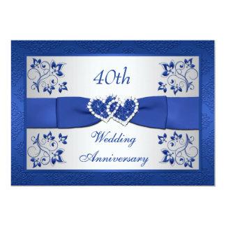 Anniversaire floral argenté bleu IMPRIMÉ de RUBAN Carton D'invitation 12,7 Cm X 17,78 Cm