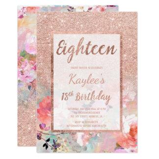 Anniversaire floral de scintillement rose d'or de carton d'invitation  12,7 cm x 17,78 cm