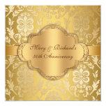 Anniversaire floral d'or cinquantième de remous de carton d'invitation  13,33 cm