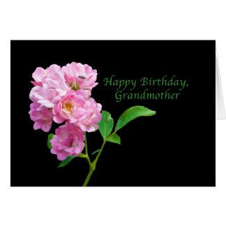 Anniversaire, grand-mère, roses roses de jardin carte de vœux