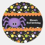 Anniversaire Halloween d'araignée Autocollant Rond