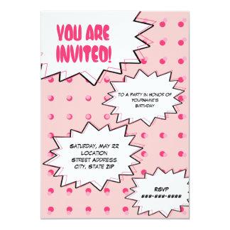 Anniversaire inspiré comique tramé rose d'art de carton d'invitation  12,7 cm x 17,78 cm
