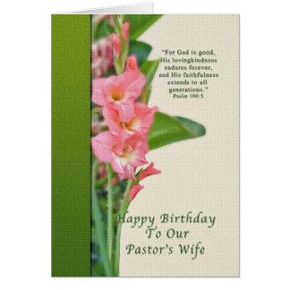 Anniversaire, l'épouse du pasteur, glaïeul rose cartes