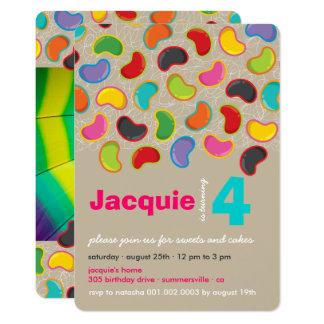 Anniversaire lunatique de rétro de bonbon mou carton d'invitation  12,7 cm x 17,78 cm