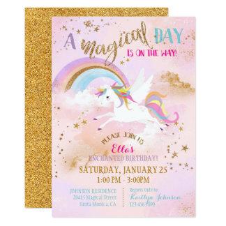 Anniversaire magique de Pegasus de licorne Carton D'invitation 12,7 Cm X 17,78 Cm