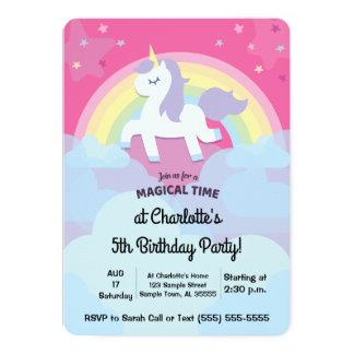 Anniversaire magique personnalisé de licorne avec carton d'invitation  12,7 cm x 17,78 cm