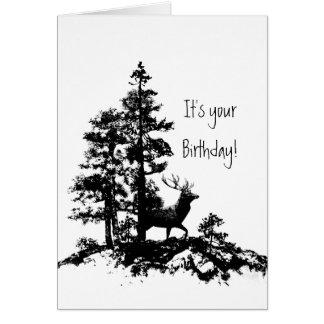 Anniversaire masculin animal de forêt d'arbre de cartes de vœux