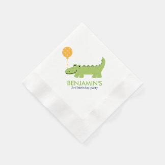 Anniversaire mignon d'alligator serviettes jetables