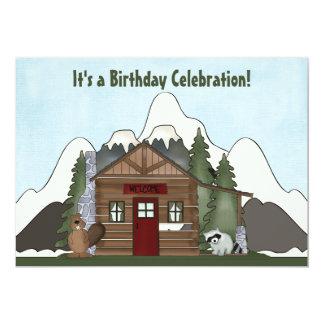 Anniversaire mignon de cabine de castor, de raton carton d'invitation  12,7 cm x 17,78 cm