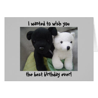 Anniversaire mignon de chien et d'ours carte de vœux