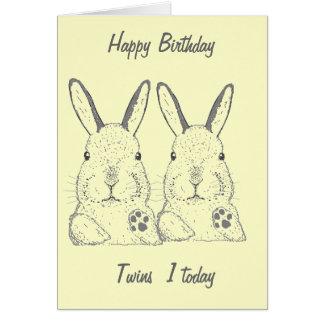 Anniversaire mignon de jumeaux de lapins carte de vœux