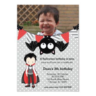 Anniversaire mignon de vampire avec une photo carton d'invitation  12,7 cm x 17,78 cm